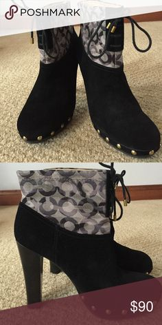 Coach Suede bootie Great shape! Like new!! Very comfortable. Can buy a size up and wear very comfortably in fall or winter with a thick sock. Or buy as sized wear any season with tights or a liner Coach Shoes Ankle Boots & Booties