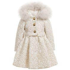 Quis Quis Girls Ivory & Gold Coat with Fur Trim  at Childrensalon.com