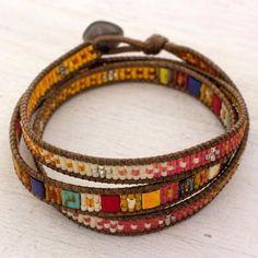 Bead Loom Bracelets, Beaded Wrap Bracelets, Handmade Bracelets, Jewelry Bracelets, Handmade Beads, Embroidery Bracelets, Leather Jewelry, Boho Jewelry, Beaded Jewelry