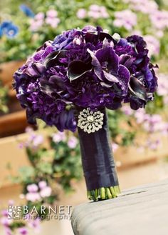Grape & Aubergine Wedding Bouquet Arranged With: Orchids, Lisianthus, Carnations, Calla Lilies