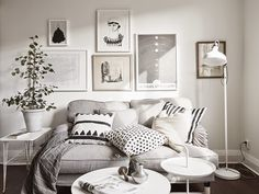 This is such a great little apartment in black and white and grey. Small  and simpleit proves you do not need to spend a ton of money or a big space  to have super style. The wonderful wallpaper in the bedroom is the perfect  backdrop to the neutral bed and accessories. Can you spot all of the Ikea  pieces in the room?  Linking withSavvy Southern Style,French Country Cottage,My Romantic Home ,A Delightsome Life    Enjoy!  Trudy  xx  via: Daily Dream Decor by Stadshem