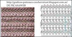 http://graficos-patrones-crochet-tricot.blogspot.com/2013/06/puntos-tejidos-ganchillo-con-sus_12.html