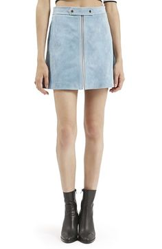 Topshop Button Tab Suede Skirt available at #Nordstrom