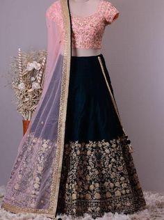 Navy Blue Taffeta Silk Party Wear Low Price Indian Lehenga Online