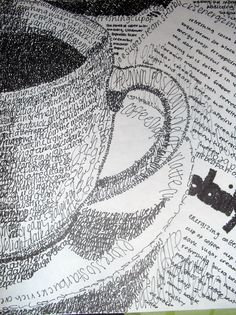 pen & ink drawing using words! teacup & book, letters, black & white, line drawing, coffee cup. word art, text art