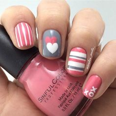Pink, Grey and White Valentine's Day Nails