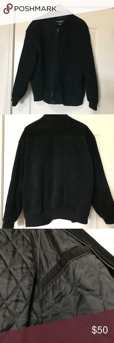 Mens Suede/Leather Jacket Mens suede/leather jacket. Quilted inside with a pocket.  Two pockets outside with sweater type material at the neck and cuffs.  There is a mark on the left sleeve.  Jacket is dry clean only. Please ask questions before purchasing. Trader Bay Jackets & Coats Bomber & Varsity