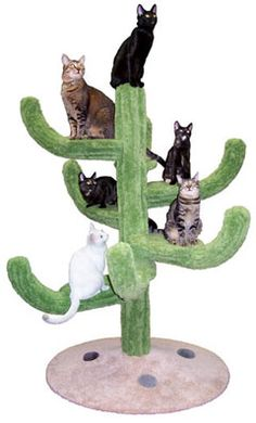 "Cactus Cat Climbing Tower  At just over 5' tall, 3-1/2' wide, and 4' deep, this attractive cat climbing tower has a total of 7 arms. Four of them are 10"" wide, and three of them are 8"" wide. The spiral arrangement of these arms allows cats to effortlessly climb up and down the tree. A wide and heavy base ensures that the unit will not topple over. Very solid construction!!!  - Dimensions 65""Hx45""Wx48""D  - Weight 115lbs  - Material Plywood, Solid Pine (Posts), 100% Nylon Carpet"
