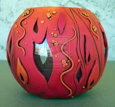 Flame Polymer Clay Vase by *MandarinMoon on deviantART