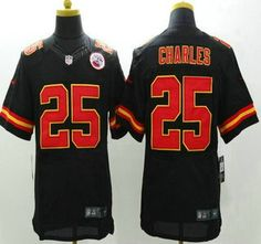 d9ae52206 Nike Kansas City Chiefs Jersey 25 Jamaal Charles Black Elite Jerseys