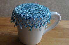 Crochet Home, Bead Crochet, Free Crochet, Crochet Doily Patterns, Crochet Doilies, Wine Glass Holder, Craft Show Ideas, Milk Jug, Crochet Accessories