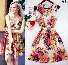 2015 spring summer autumn new Korean Women casual Bohemian floral leopard sleeveless vest printed beach chiffon dress WC0344-in Dresses from Apparel & Accessories on Aliexpress.com | Alibaba Group