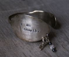 Hand Stamped Spoon Cuff Bracelet i am by BlissfulHeartStudio, $22.00