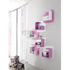 Etajere suspendate Doly Pink Wall Shelf, Wall Shelves, Floating Nightstand, Floating Shelves, Kids Single Beds, Carpet Shops, Pink Walls, Girls Bedroom, Bathroom Hooks