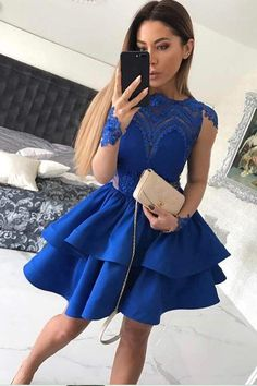 Royal Blue Homecoming Dress with Sleeves, Hoco Dresses, Short Prom Dress, Back to School Party Dance Dress royal blue hoco dress / royal blue party dress / blue gown royal / white and royal blue wedding / blue dress royal Royal Blue Homecoming Dresses, Long Sleeve Homecoming Dresses, Mini Prom Dresses, Dresses Short, Royal Blue Dresses, A Line Prom Dresses, Modest Dresses, Dress Long, Prom Gowns