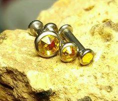 "Triple Forward Cartilage Tragus Helix CZ Studs 1/4"" 18g Earring Yellow Citrine"
