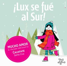 Lux en el SUR! en Mucho Amor, #amor #lux #muñeca #sur #argentina #store #calafate Deco, Illustration, Pink, Movies, Movie Posters, Fictional Characters, Argentina, Illustrations, Films