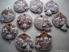Gingerbread Decorations, Gingerbread Cookies, Angel Cookies, Christmas Gingerbread House, Biscuits, Christmas Sugar Cookies, Fancy Cookies, Cookie Designs, Cute Food