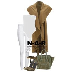 Casuals  Fresh Earth Tones  1. Fern Bodysuit-White  2. White High Waist Jeans  3. Sana Sleeveless Waterfall Cardigan -Camel  All Available at NewAgeRebel.com  Bag by Celine Shoes by Alexander Wang  #NewAgeRebel #styleideas #concepts