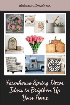 !0 easy ways to brighten home your home for spring using Farmhouse style! Farmhouse Style, Farmhouse Decor, Perennial Bulbs, Spring Crafts, Perennials, Gallery Wall, Frame, Easy, Accessories