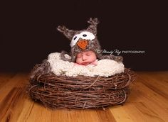 Adorable and super sweet Newborn owl hat. Sweet newborn Photo prop. photo by @Mandy Bryant Kay Photography