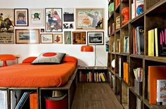 Bedroom shelving using salvaged wooden crates.