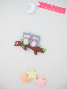 Handmade Owls sitting on the tree Felt wall/mobile hanging Felt Wall Hanging, Finger Puppets, Hand Stitching, Owls, Handmade, Hand Made, Owl, Tawny Owl, Hand Puppets