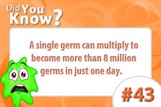 Did you know that a single has the ability to multiple into 8 million? Crazy Facts, Weird Facts, Fun Facts, School Nursing, Nursing Notes, Infection Control Nursing, Hand Washing Poster, Nurse Office, Hand Hygiene