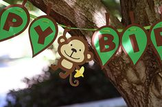 Monkey Birthday Banner with Leaves   saw this and thought of you!! @Jennifer Shariat