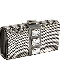Whiting and Davis Chunky Crystal Box Clutch - Pewter $152.00