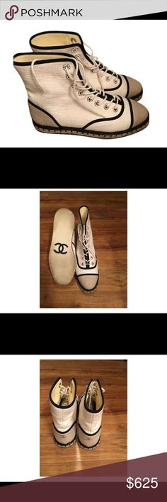 Chanel canvas flat ankle boots Chanel canvas espadrille flat ankle boots with pearl shoe string holes. Excellent condition CHANEL Shoes Espadrilles