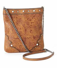 Look what I found on #zulily! Tan Floral Stud Crossbody Bag #zulilyfinds