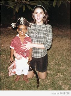 President Obama (11th cousin 1x removed)  as a pirate and his Mother Dr. Stanley Ann Dunham (11th cousin)