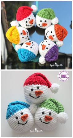 Crochet Snowman Heads Amigurumi Free Pattern - Video Crochet Snowman Heads Amigurumi Free Pattern - Video Always aspired to figure out how to knit, but unsure how to start? Crochet Christmas Wreath, Crochet Wreath, Crochet Christmas Decorations, Crochet Ornaments, Christmas Crochet Patterns, Holiday Crochet, Christmas Knitting, Christmas Crafts, Christmas Christmas