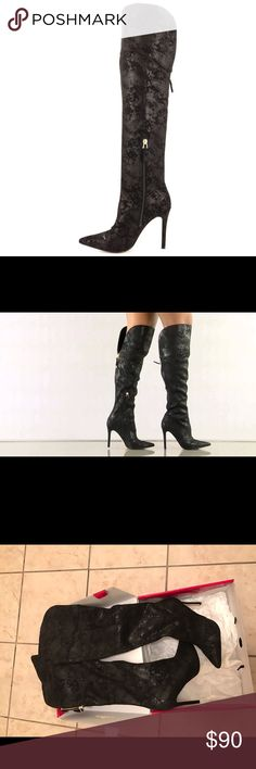 Guess Naddy 3 Knee High Boots Black Fabric Knee High Boots. Only worn once original price  $154.99. Sold out in stores. Guess Shoes Heeled Boots