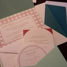 teal pocketfold reception invites from Chic Ink