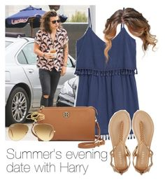 """""""Summer's evening date with Harry"""" by style-with-one-direction ❤ liked on Polyvore featuring Marc, MANGO, Report, Tory Burch, Gorjana, Ray-Ban, OneDirection, harrystyles, 1d and harry styles one direction 1d"""