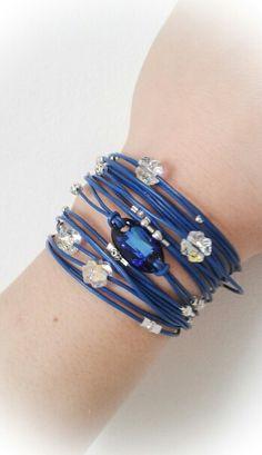 Swarovski leather wrap bracelet www.breslo.ro/LuluBijouxBoutique