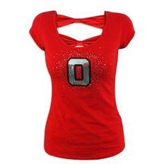 Ohio State Buckeyes Ladies Scarlet Tie Back Top