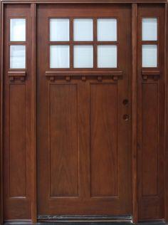 Lite Shaker Style Craftsman Mahogany Wood Entry Front Door - Shaker front door
