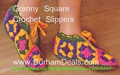 Granny Square Slippers Pattern Free - Google Search