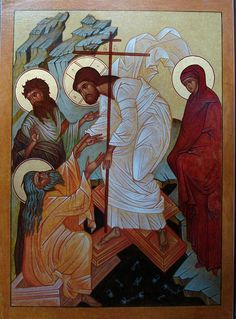 icon of Jesus' harrowing icon iconographer: Wayne Hajos Link to Sermon by Gregory of Nyssa Religious Icons, Religious Art, Holy Saturday, Christ Is Risen, Religion Catolica, Russian Icons, Religious Paintings, Les Religions, Christian Art