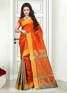 We have wide range of heavy work designer saree. Grab this cotton   orange casual saree.