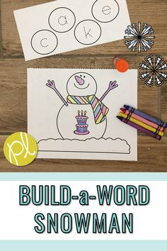 An easy one-page snowman craft focused on phonics! Add these to your Guided Reading word work centers or make a class set to display. Differentiation is easy with 90 words to choose from! Read more at Positively Learning Blog #wordbuilding #wordwork #literacycenters