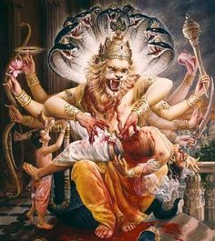 Lord Narsingh and Prahlad Maharaj