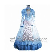 Long Sleeves Lolita Ruffles Light Blue and White Gothic Victorian... ❤ liked on Polyvore featuring dresses, frill dress, longsleeve dress, long sleeve flounce dress, gothic lolita dress and flounce dress