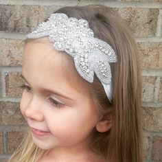 Beautiful Blossom Infant/Toddler Headband measures 14 inches in circumference with an elastic headband that is super comfortable and so easy to wear.   Wearing this hairband is the ultimate way to sparkle and shine. Looks absolutely amazing!