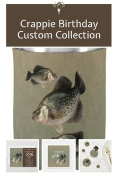 30th, 40th, 50th - 70th Crappie Birthday Party collection. Custom to your party for your fisherman! #fishing #50yearsold #40yearsold #60yearsold #70yearsold #30yearsold 60th Birthday Party Invitations, 70th Birthday Parties, Crappie Fishing, 30th, Collection