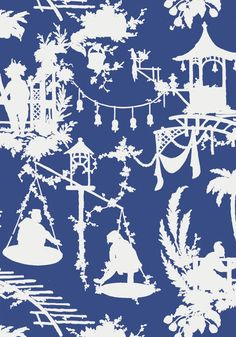 South Sea #wallpaper in #navy from the Resort collection. #Thibaut