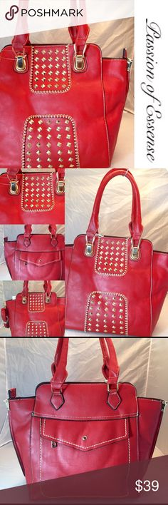 """✂️PRICE CUT 30%✂️HP Red Fashion Diamond Handbag Red tote bag is the style, this fashion is hot for the summer! This handbag has 2 divider deep pockets with a middle zipper pocket, 2 cell phone pockets on the side, 1 zipper pocket on the inside, 1 button zipper on the outside, shoulder straps width 18"""" depth 12"""" lengths 14"""" straps 9"""" the material is faux leather Bags Totes"""